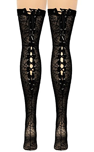 Vanea-Womens-Spider-Web-Lace-Up-Back-Seam-Thigh-High-Black