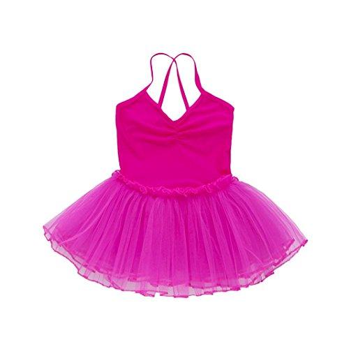 Justaucorps Fines Caraco Tenues Ballet Débardeur Bretelles Jupe Gymnastique Sangle Vêtements Angelof Rose Filles Danse Croisées Chaud Dos Robe Tulle qSW8ta