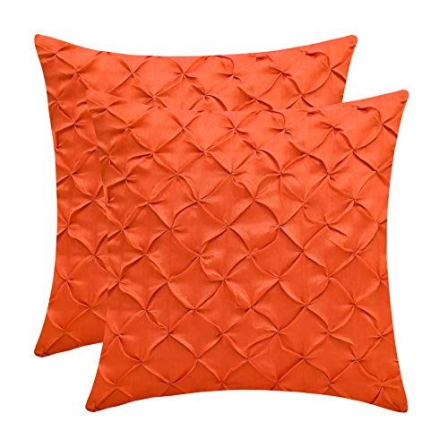 The White Petals Orange Euro Sham Covers (Faux Silk, Pinch Pleat, 26x26 inch, Pack of 2) (Sham Euro Orange)