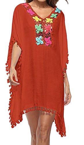 V Di Nappe collo Estate Arancione Crochet Manica Delle Vestito Cromoncent Donne Corta Coprire 4qwwTtR