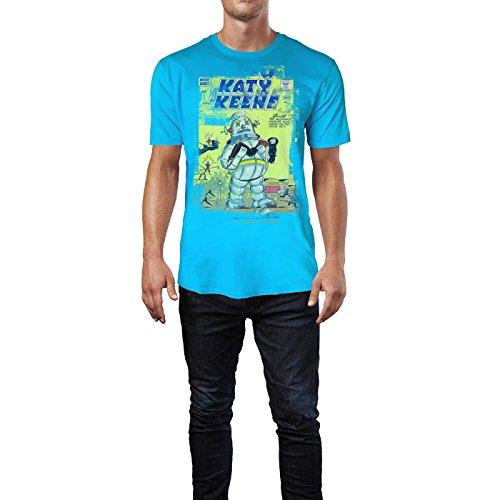 SINUS ART® Katy Keene Herren T-Shirts in Karibik blau Cooles Fun Shirt mit tollen Aufdruck