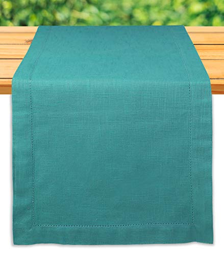 - Light & Pro Dining Table Runner 100% Slub Cotton Hemstiched, Table Runner Wedding, Mexican Serape Table Runner, Rustic Table Runner, Valentines Table Runner, Everyday Use-16x108 Inch-Teal