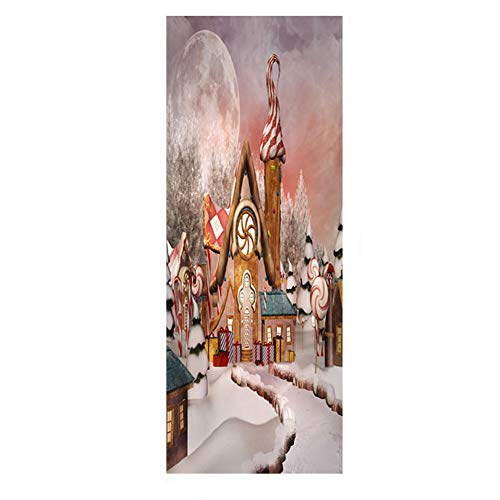Home Find Decorative Christmas Door Stickers Door Cover Winter Snow Landscape with Cartoon Log Cabins Wall Mural Self Adhesive Merry Christmas Party Decorations 30.3 inches x 78.7 inches (Products Merry Log)