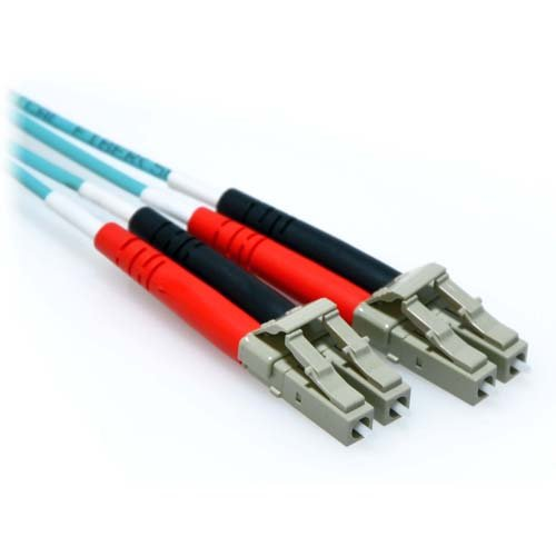 Aqua Fiber Patch Cable - CableRack 15m LC/LC 10GB Duplex 50/125 Multimode OM3 Fiber Patch Cable Aqua