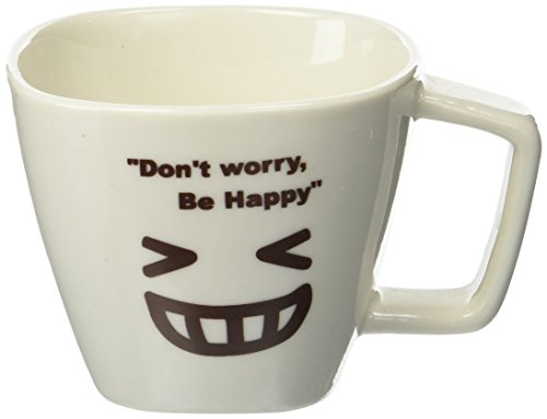 Southern Homewares ''Don't Worry, Be Happy'' Face 03 Ceramic Tea Coffee Cup, White by Southern Homewares
