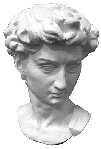 Torino Mini David Head Plaster Cast Mannequin, Great for Artists, Artistic piece, Color: White, Size: 5