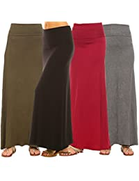 Women's 4-Pack Trendy Rayon Span Fold Over Maxi Skirt