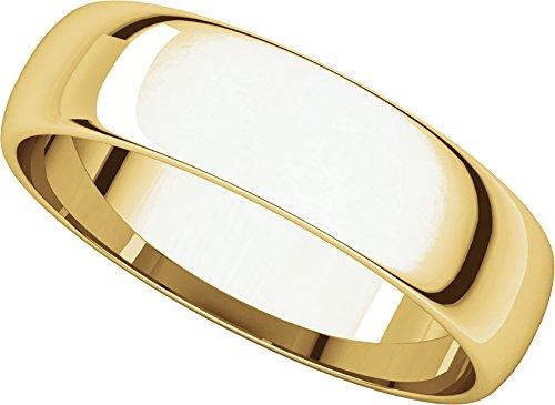 Gold Half Round Light (Mens 10K Yellow Gold, Light Half Round Wedding Band 5MM (sz 6))