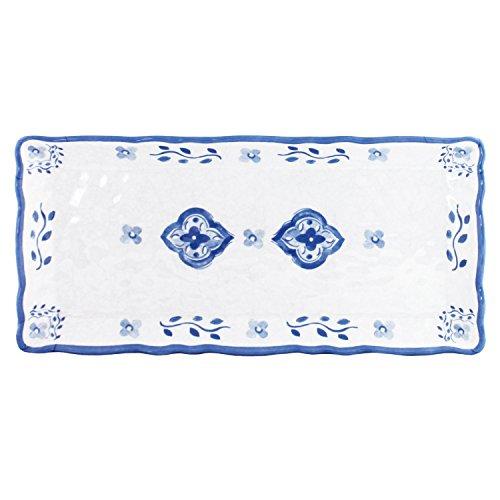 Le Cadeaux Moroccan Blue Melamine Biscuit Tray, 10