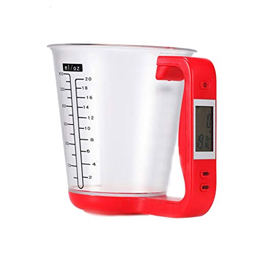 (Chercherr Electronic Measuring Instrument, Multi-Function Digital Measuring Jug Kitchen Weigh Temperature Volume Cup Scale With DetachableLCD Display For Flour Sugar Milk Water Oil (Red))