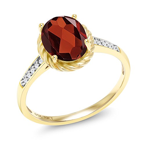 Red Garnet and White Diamond 10K Yellow Gold Women's Ring (1.87 Ct Oval Available in size 5, 6, 7, 8, 9) by Gem Stone King