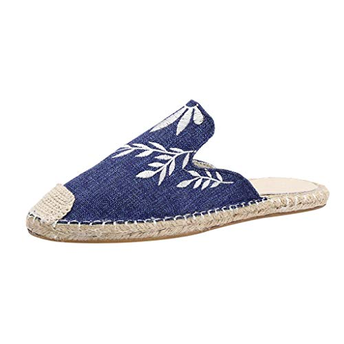 Nuewofally Female Sandals Plus Size Muller Closed Toe Flat Bottom Summer Embroidery Comfortable Shoes Women Dark Blue
