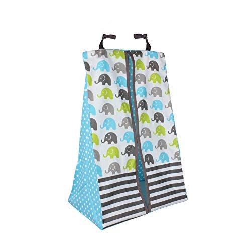 Bacati - Elephants Aqua/Lime/Grey 10 Pc Crib Set Including Bumper Pad