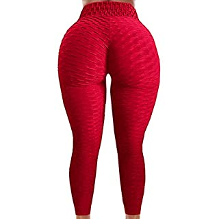 A AGROSTE Women's Booty Lifting Yoga Pants High Waist Tummy Control Anti Cellulite Lyte Leggings Workout Honeycomb Tights