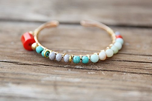 Gemstone adjustable bracelet,Beaded Bracelet,CORAL bracelet, howlite bracelet,green Bracelet,carnelian CORAL stone,Bangle - Fair Fashion Website