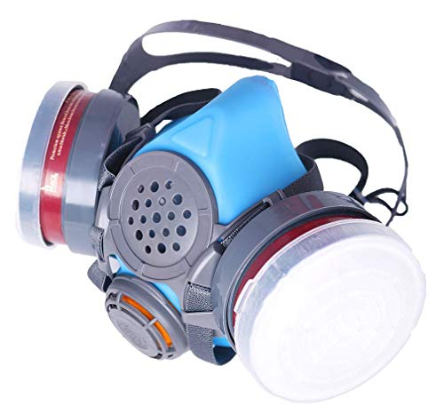 T-60 Respirator (Updated Blue Model) Daul N95 Activated Charcoal Civilian Air Filters - Industrial Grade Quality - Pure Safe Breathing for Toxic ()