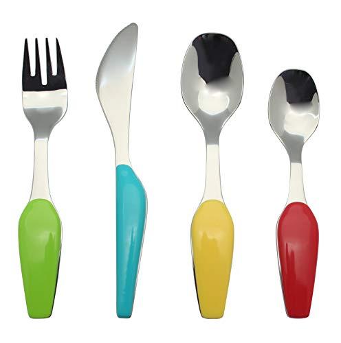 Exzact Stainless Steel 4 PCS Childrens Flatware/Cutlery Set - 1 x Fork, 1 x Safe Dinner Knife, 1 x Dinner Spoon, 1 x Dessert Spoon