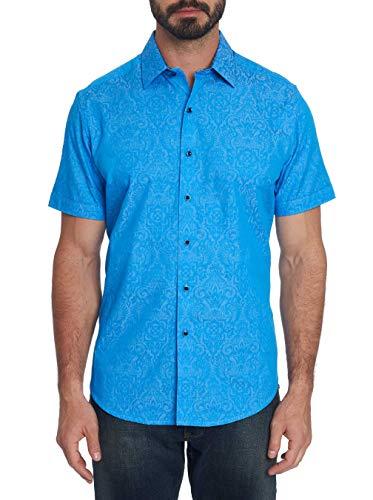 (Robert Graham Equinox S/S Tonal Print Sport Shirt Classic Fit Blue Large)