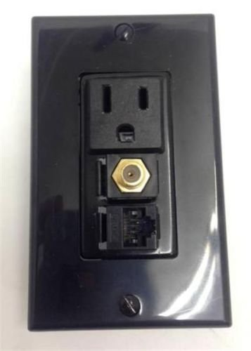 CERTICABLE CUSTOM BLACK SINGLE GANG WALL PLATE 110V POWER + CAT 5E RJ45 + (Speakon Wall Plate Single)