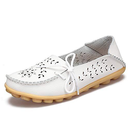 - Alfalfa Plant 2019 Ballet Cut Out Women Leather Shoes Woman Flat Flexible Round Toe Fashion Loafer,White,6