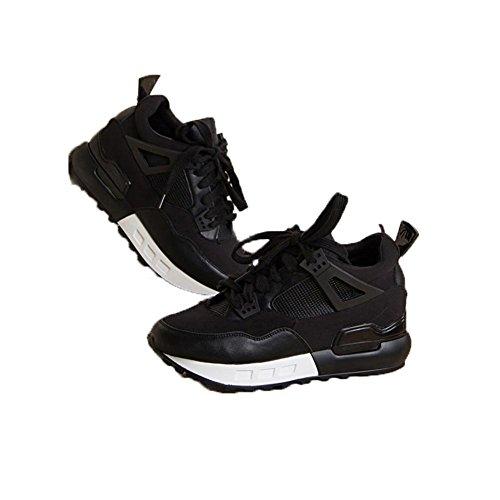 Mouvement De Taille Croissante Noir Version Coréenne Dentelle D'Automne Avec L'Aide Haute Base Sauvage Tendance De Loisirs Chaussures Pour Femmes ,black,38