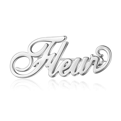 (LONAGO 925 Sterling Silver Personalized Name Brooch Name Pins Custom Any Name Symbol Number (Silver,)