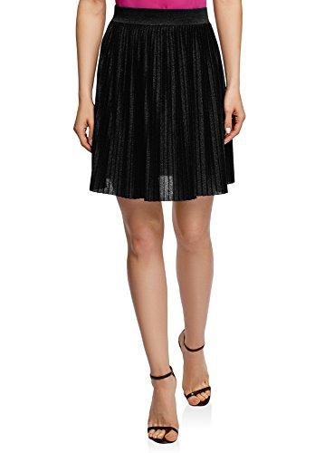 oodji Ultra Women's Lurex Pleated Mini Skirt, Black, 4