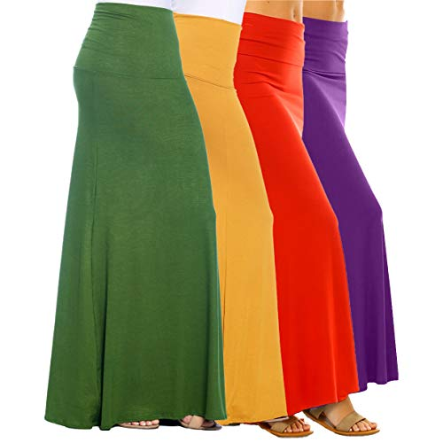 Isaac Liev Women's 4-Pack Trendy Rayon Span Fold Over Maxi Skirt (X-Large, Light Olive, Rust, Purple & Mustard)