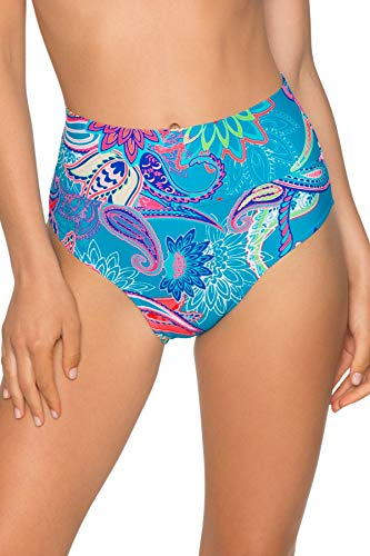 Sunsets Women's Fold Over High Waist Full Bikini Bottom Swimsuit, Caribbean Breeze, Extra Large
