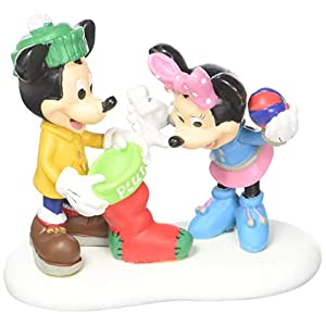 Department 56 Disney Mickey and Minnie Christmas Treats for Pluto Figurine Village Accessory, Multicolor