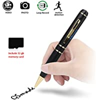 Spy camera with 32GB GSmade Full HD 2K Spy Pen Camera HD Video Recording Pen (Gold)