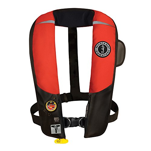 (Mustang Survival Corp Inflatable PFD with HIT (Auto Hydrostatic) with Harness, Red/Black)