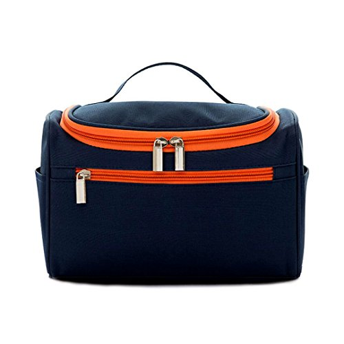 Make Up Toiletry Cosmetic Hanging Travel Kit Bag for Women Man Girl Gift Portable Organizer Pouch Case Waterproof Bathroom Storage Beauty Navy Blue for Vacation Horizon Triple Door