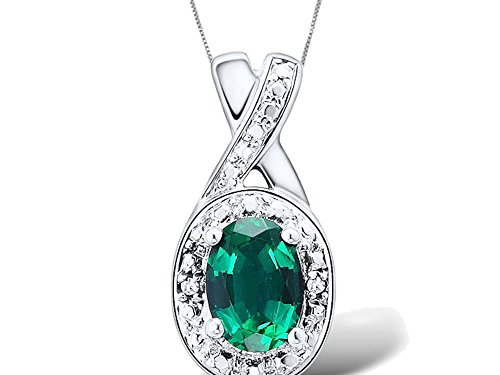 Lab Created Emerald Necklace in Rhodium Plated Sterling Silver -Diamond Accents