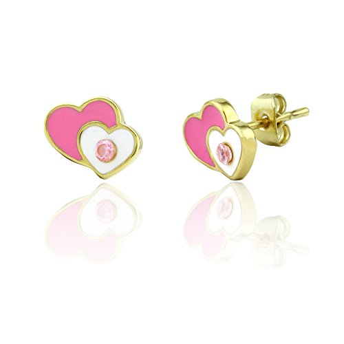 Heart Baby Post Earrings (Heart and Crystal Stud Earrings Girls Jewelry Sets Christmas Jewelry for Girls 18k Gold Plated Best Christmas)