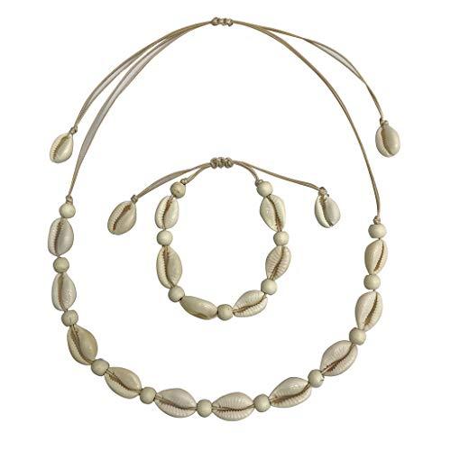 Seashell Necklace Choker And Bracelet Set,Haluoo Boho Cowrie Shell Necklace Natural Shell Beads Handmade Hawaii Wakiki Beach Choker Bohemian Corded Seashell Necklace And Bracelet For Women (Beige)