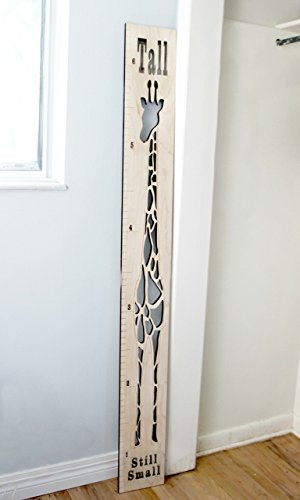 Giraffe Growth Chart - Wooden Animal Height Ruler for Child's room, Baby shower, First birthday or Christmas (Hand Painted Wooden Growth Charts)