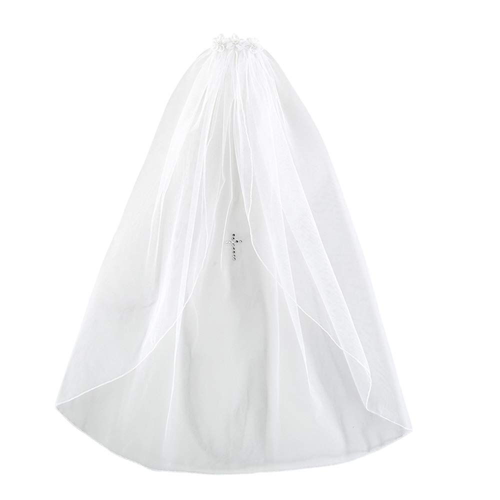 Girls First Communion White Tulle Veil. Two Layers Veil with Satin Bow Flower Headband, Satin Trimmed Edges and Pearl Cross Embellishment
