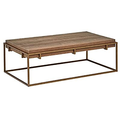 "Stone & Beam Sparrow Modern Industrial Coffee Table, 55.1""W, Wood and Bronze - This sturdy, eye-catching coffee table will serve your family well through many fun gatherings. A sleek bronze-finished frame holds a top made of reclaimed elm. Elements of rustic, industrial and glam styles combine for a look that blends with modern décor. 55.1""W x 31.5""D x 18.5""H Reclaimed elm wood top; metal frame with a bronze finish - living-room-furniture, living-room, coffee-tables - 415tV4LCm L. SS400  -"
