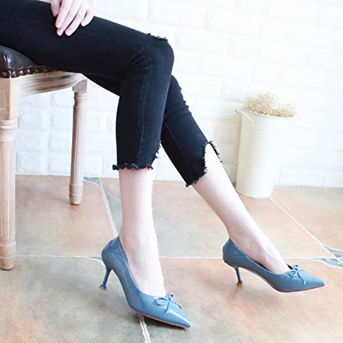 Pointed KPHY Fashionable Six High Heel Shoes Shoes Thirty Lacquer Autumn Mouth Bow Black Shallow Skin Sweet Shoes Heel Fine 6Cm zccWt4Z