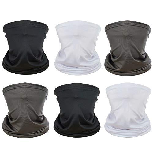 [6 Pack] Unisex Sun UV Protection Face Bandana, Reusable Cloth Half Mask Scarf Neck Gaiter Motorcycle Balaclava for Men…