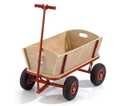 Happy People 74002 - Carro de madera con ruedas de goma y estructura metálica: Amazon.es: Juguetes y juegos