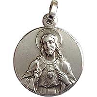 Medalla del Sagrado Corazón de Jesús de Plata Maciza 925