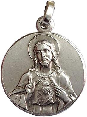 Medalla del Sagrado Corazón de Jesús de Plata Maciza 925: Amazon.es: Joyería