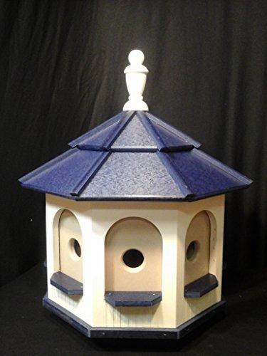 Large Poly Amish Gazebo Birdhouse Post Mount Yard Handcrafted Ivory & Blue Roof