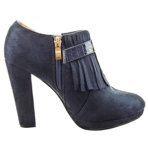 Sopily - Scarpe da Moda Stivaletti - Scarponcini low boots alla caviglia donna frange pelle di serpente Tacco a blocco tacco alto 10.5 CM - Blu