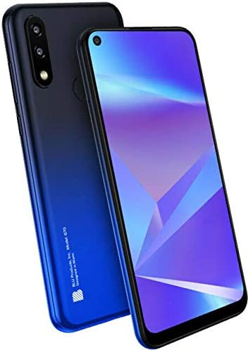 BLU G70 G0250WW 6.4″ HD+ Infinity Dot 32GB Dual-SIM GSM Smartphone, 2GB RAM, Dual 13MP Rear + 8MP Front Camera, Mediatek Helio P23, Android 9 Pie, Unlocked, Blue