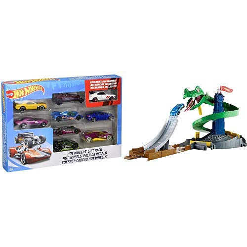 Hot Wheels 9-Car Gift Pack (Styles May Vary) AND Hot Wheels City Cobra Crush Playset [Amazon Exclusive]]()