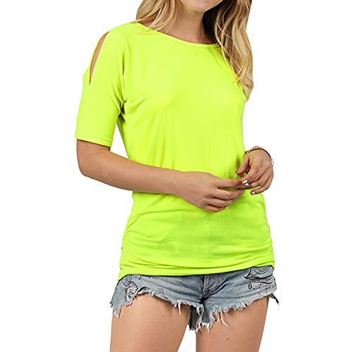 (Leomodo Women T-Shirt Casual Round Neck Dolman Sleeve Solid Color Cold Shoulder Top Green Yellow)