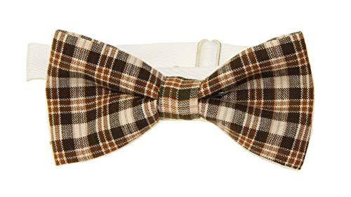 Men's Brown/Tan Plaid Cotton Pre-Tied Adjustable Bow Tie